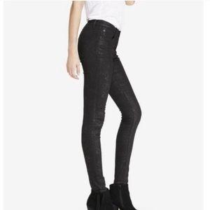 Express mid rise legging jeans black snake print